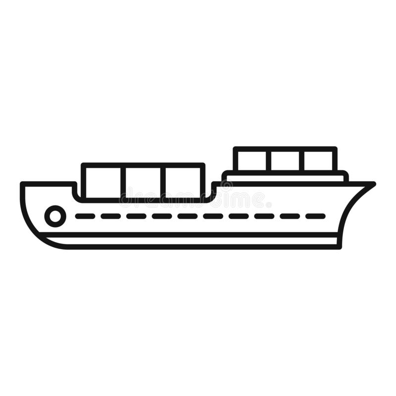 Industrial ship icon, outline style. Industrial ship icon. Outline industrial ship vector icon for web design isolated on white background stock illustration