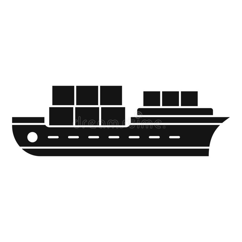 Industrial ship icon, simple style. Industrial ship icon. Simple illustration of industrial ship vector icon for web design isolated on white background stock illustration