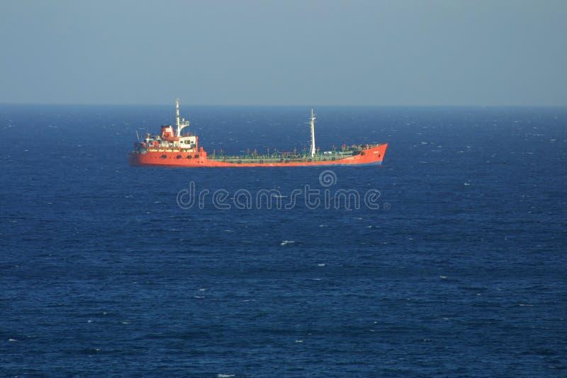 Industrial ship in Mediterranean sea royalty free stock photo
