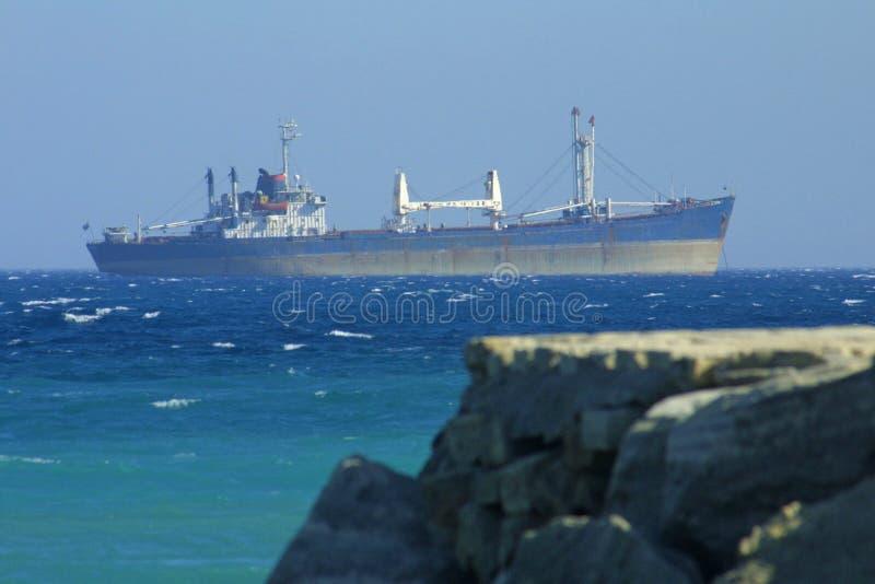Industrial ship in Mediterranean sea stock images