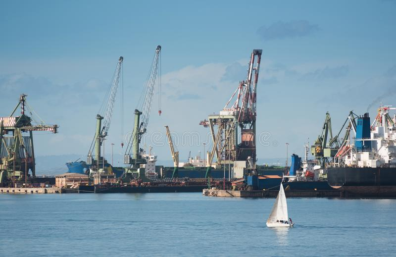 Industrial shipping cranes in the port of Taranto, Italy. Puglia stock photography