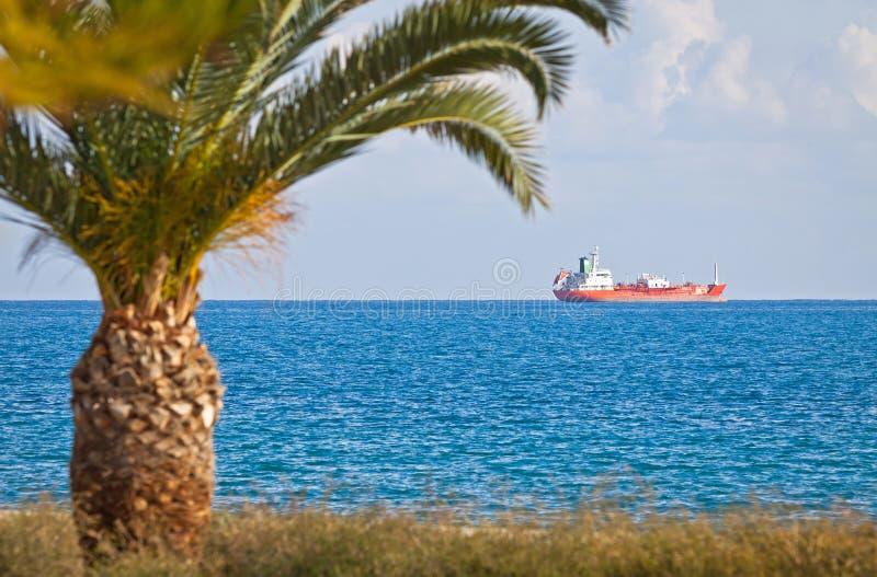 Industrial ships in Mediterranean sea near Cyprus royalty free stock image