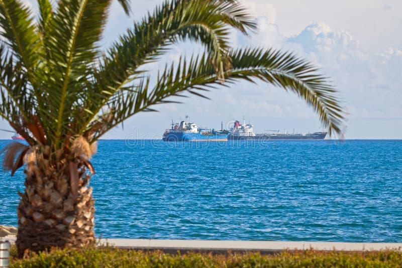 Industrial ships in Mediterranean sea near Cyprus stock photo