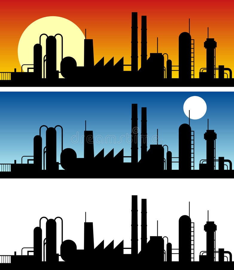 Industrial Silhouette Banners vector illustration