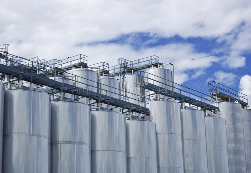 Industrial Silos royalty free stock photos