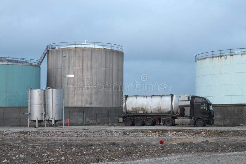 Industrial site with oil tanks royalty free stock photos