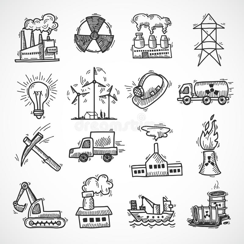 Industrial sketch icon set royalty free illustration