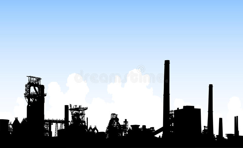 Download Industrial skyline stock vector. Image of clouds, foreground - 9588910