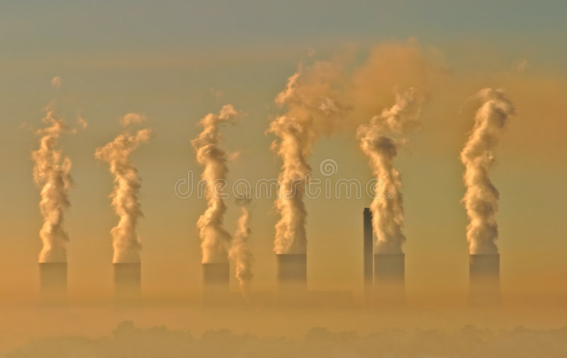 Industrial smog. Air pollution from an electricity generation plant
