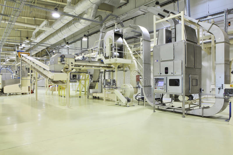 Industrial space. Manufacturing line at the factory stock photo