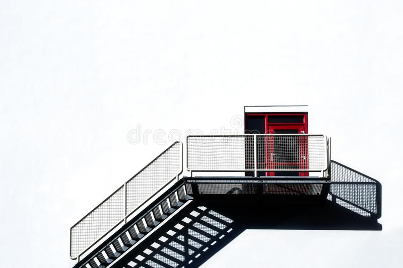 Industrial stairs of a modern building in Rotterdam royalty free stock images