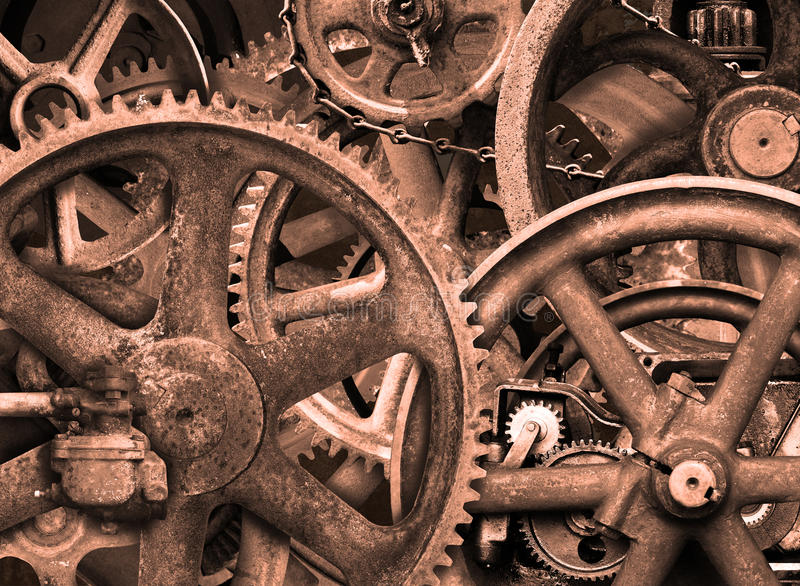 Industrial Steampunk Background, Gears, Wheels royalty free stock photos
