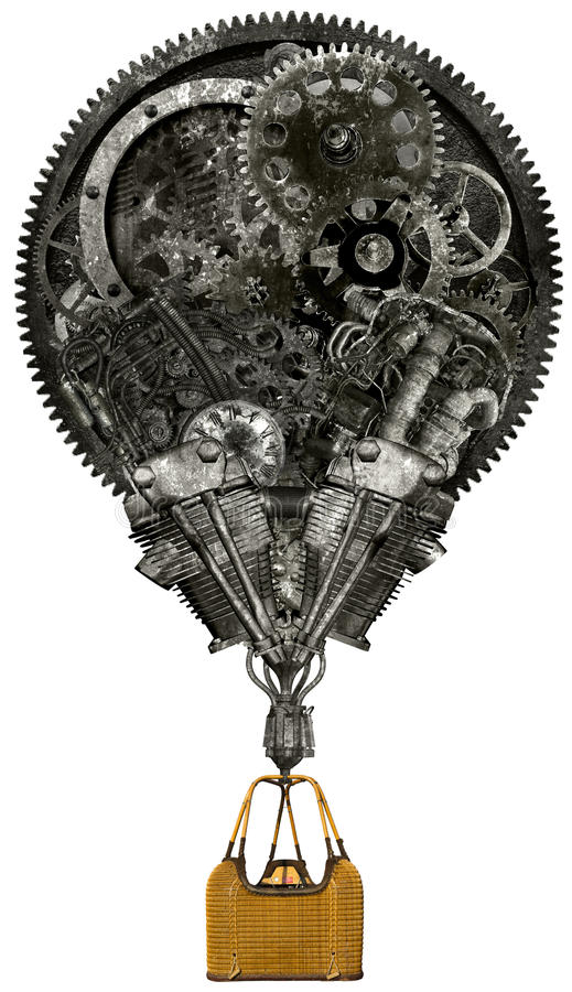 Industrial Steampunk Hot Air Balloon Isolated stock photo