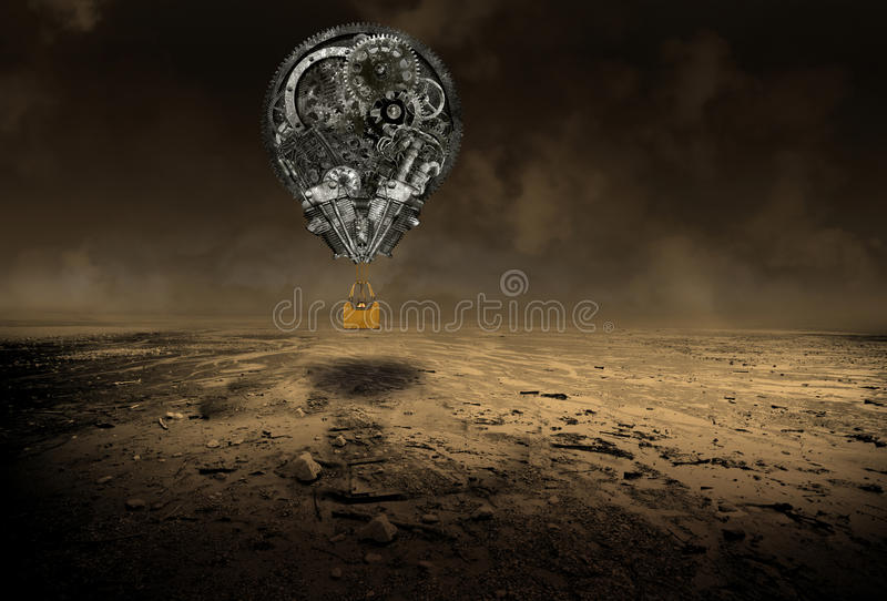 Industrial Steampunk Hot Air Balloon. Unusual and different flying machine manufacturing concept. The mechanical contraption is flying over a desolate desert stock photos