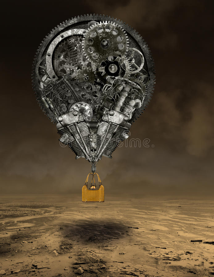 Industrial Steampunk Hot Air Balloon stock images