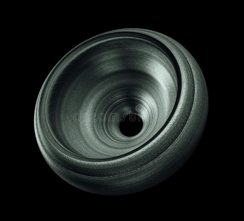 Industrial Steel Wheel Isolated On Black Background.  stock photo