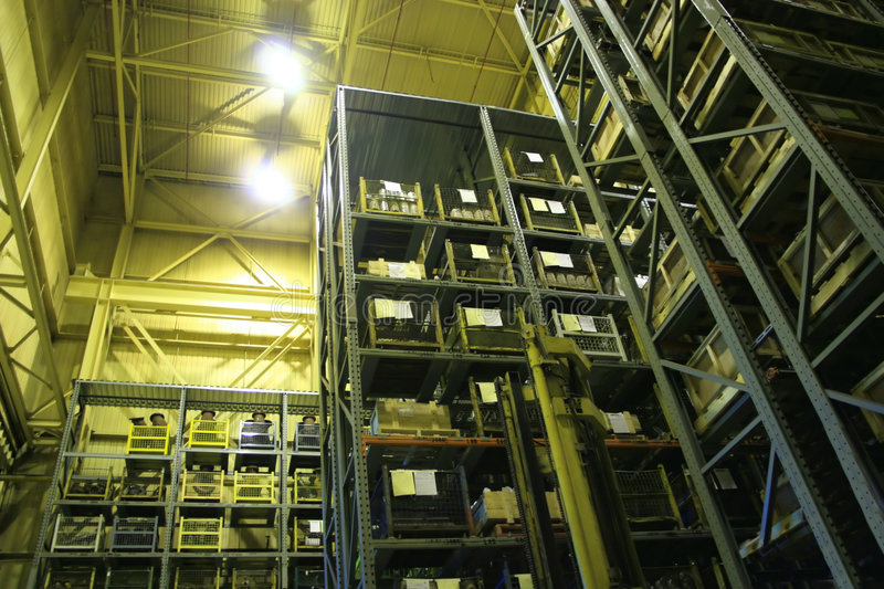Industrial Storage Bay. An industrial factory's on-site high rise parts storage warehouse royalty free stock photography