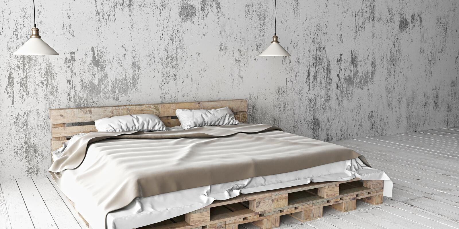 Download A Industrial Style Bedroom With Recycled Pallet Bed. 3D Render.  Stock Illustration