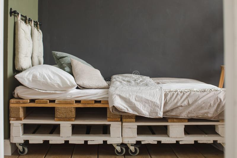 Download Industrial Style Bedroom Recycled Pallet Bed Frame Stock Photo    Image Of Loft, Apartment