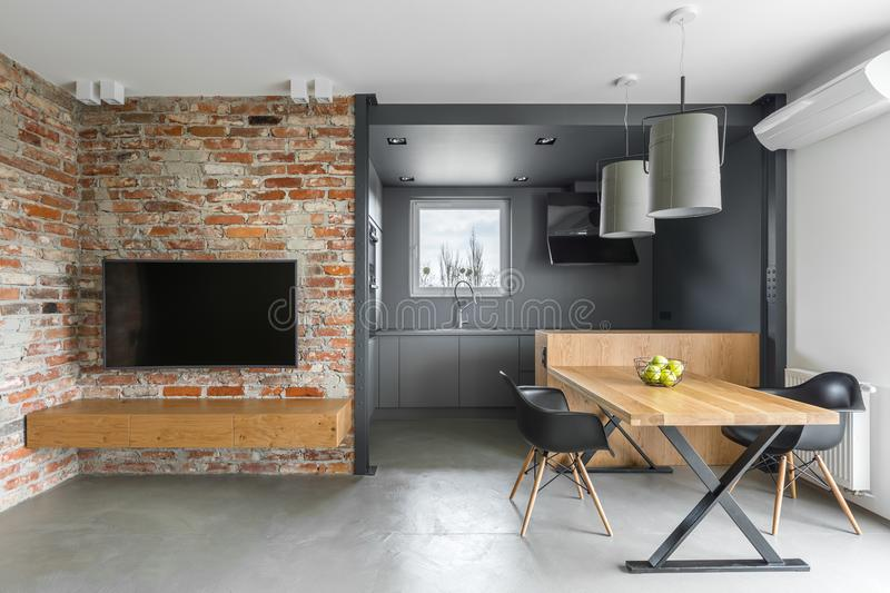 Industrial style home interior stock photos
