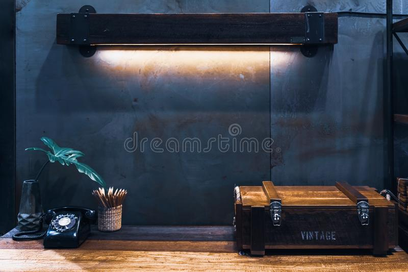 Industrial style vintage retro room decoration in  industrial loft vintage style royalty free stock photography