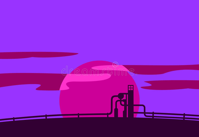 Download Industrial sunset stock vector. Image of horizontal, silhouette - 14170509