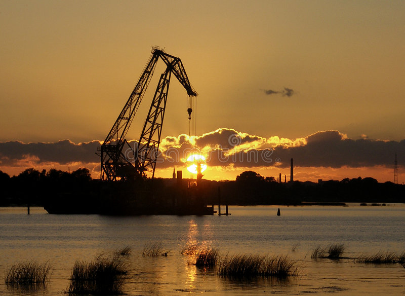 Industrial sunset stock photo