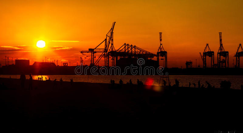 Industrial sunset 3 stock images