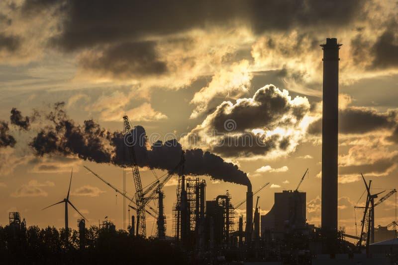 Industrial Sunset - Rotterdam - Holland stock image