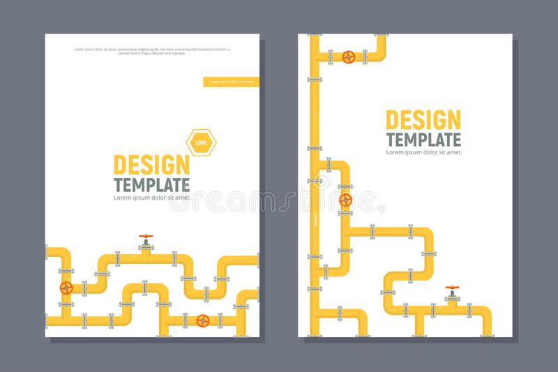 Industrial templates cover design in A4 size. Yellow pipeline. Oil, water or gas pipeline with fittings and valves vector illustration
