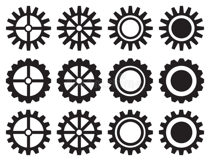 Industrial Toothed Wheels Vector Icon Set royalty free illustration