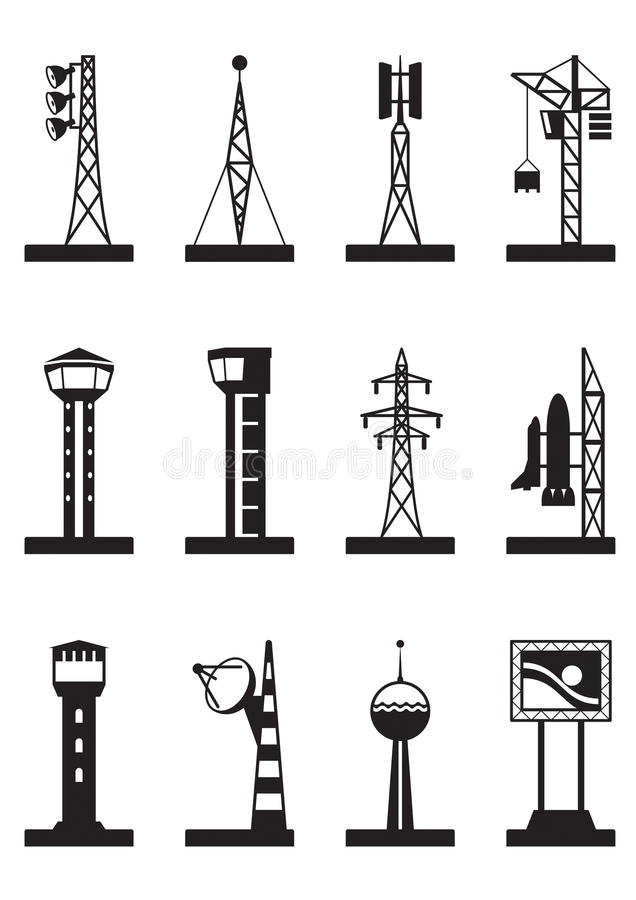 Download Industrial Towers And Poles Stock Vector - Image: 32854005