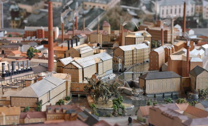 Industrial town miniature model stock photos