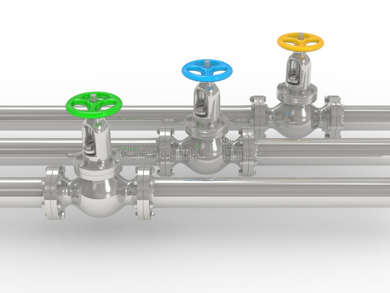 Industrial Valves On Pipelines Royalty Free Stock Photography
