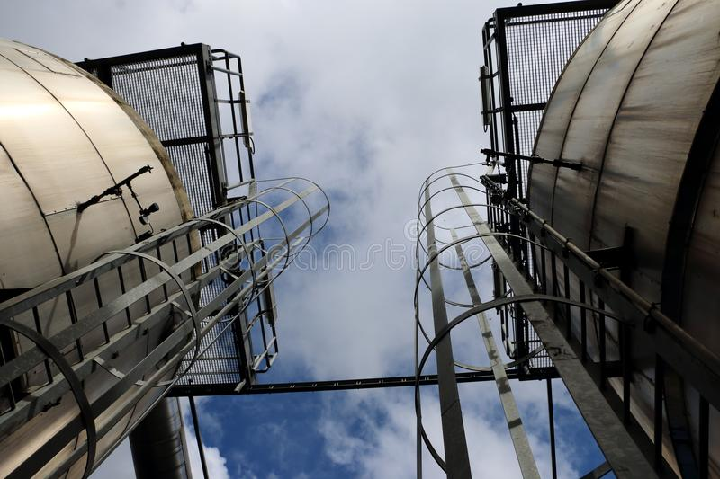 Industrial tanks picture taken in frog position stock photo