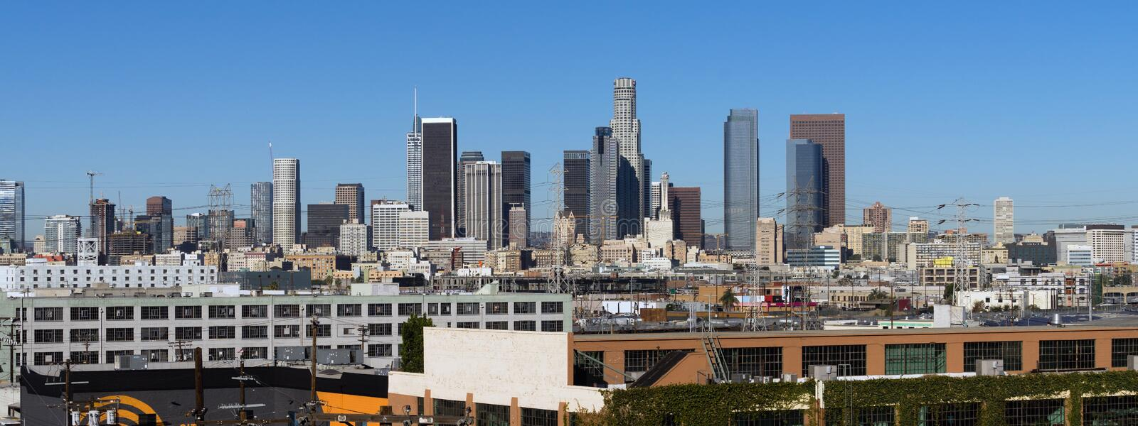 Industrial View Los Angeles Downtown Urban City Skyline royalty free stock photography