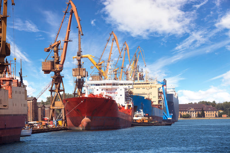 Industrial view with ships and cranes stock photo