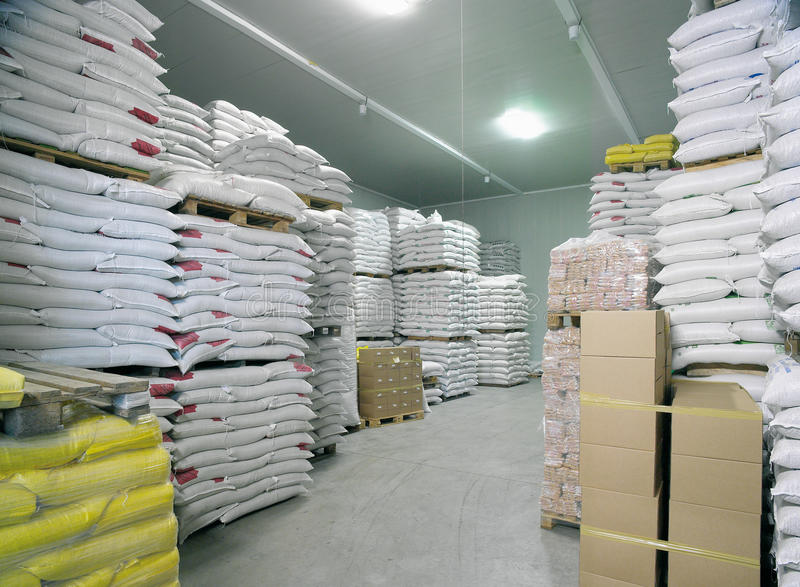 Industrial Warehouse. In a flour factory stock photography