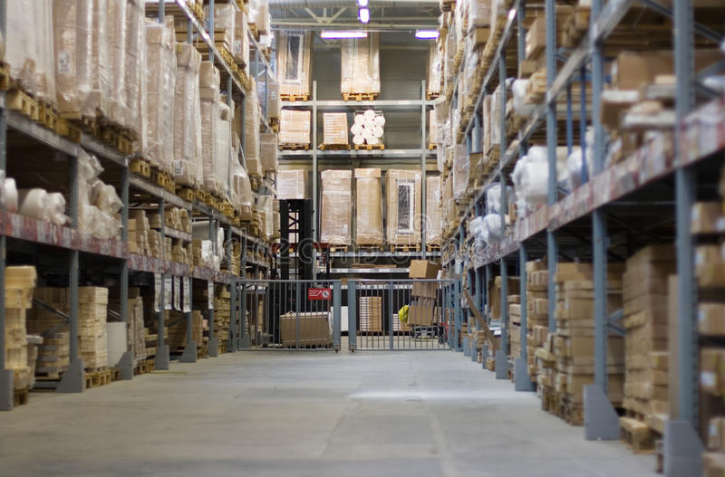 Industrial Warehouse. Shelves manufacturing storage in a warehouse royalty free stock photography