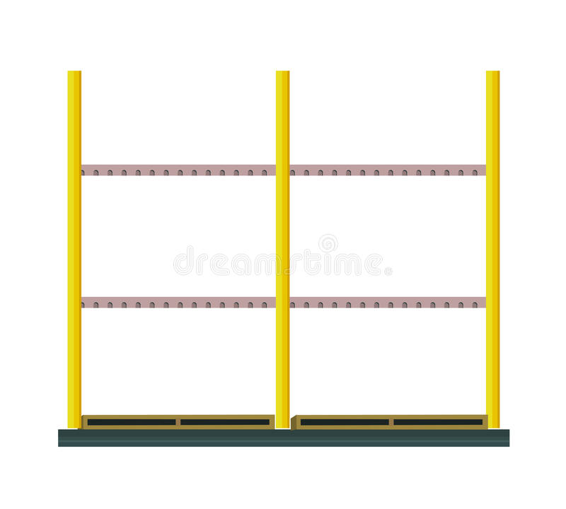 Industrial Warehouse Rack Vector In Flat Design Stock
