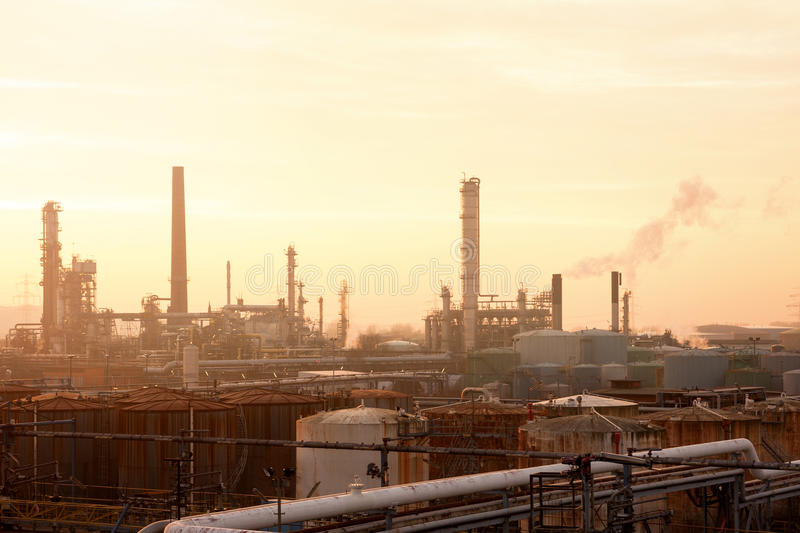 Industrial. Warm Sunny Evening at Industrial Complex royalty free stock image