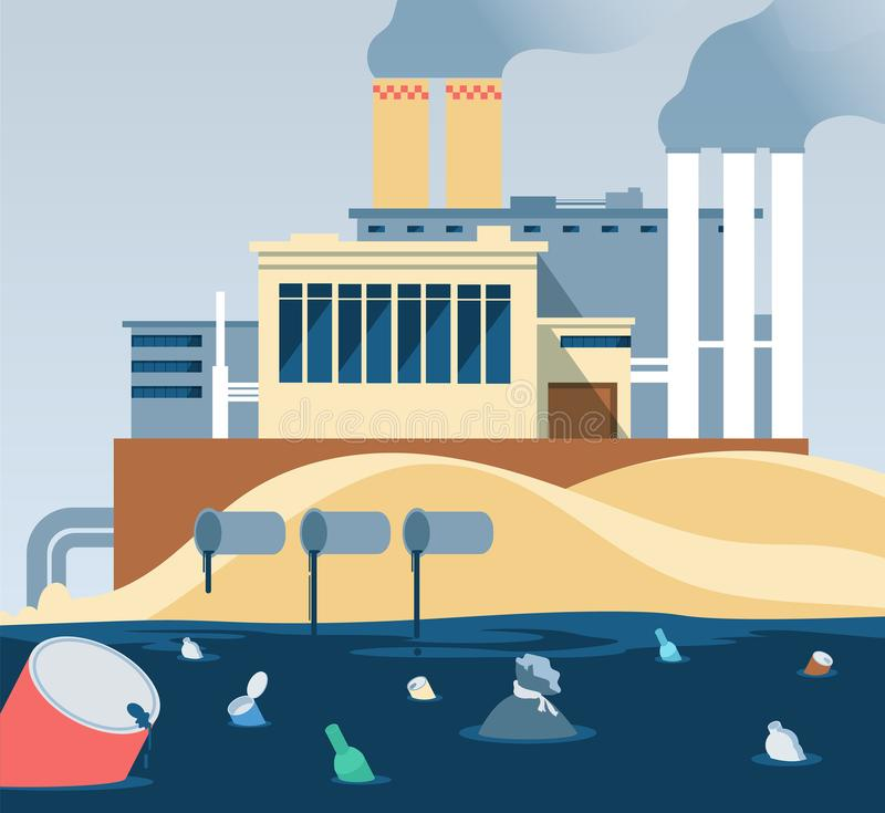 Industrial waste. Polluted dirty water and factory dumping wastewater river royalty free illustration