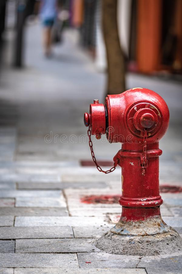 Fire Hydrant Connection Point On Street. Industrial Water Hydrant Hydropower Fire Protection With Network Irrigation Application royalty free stock photography