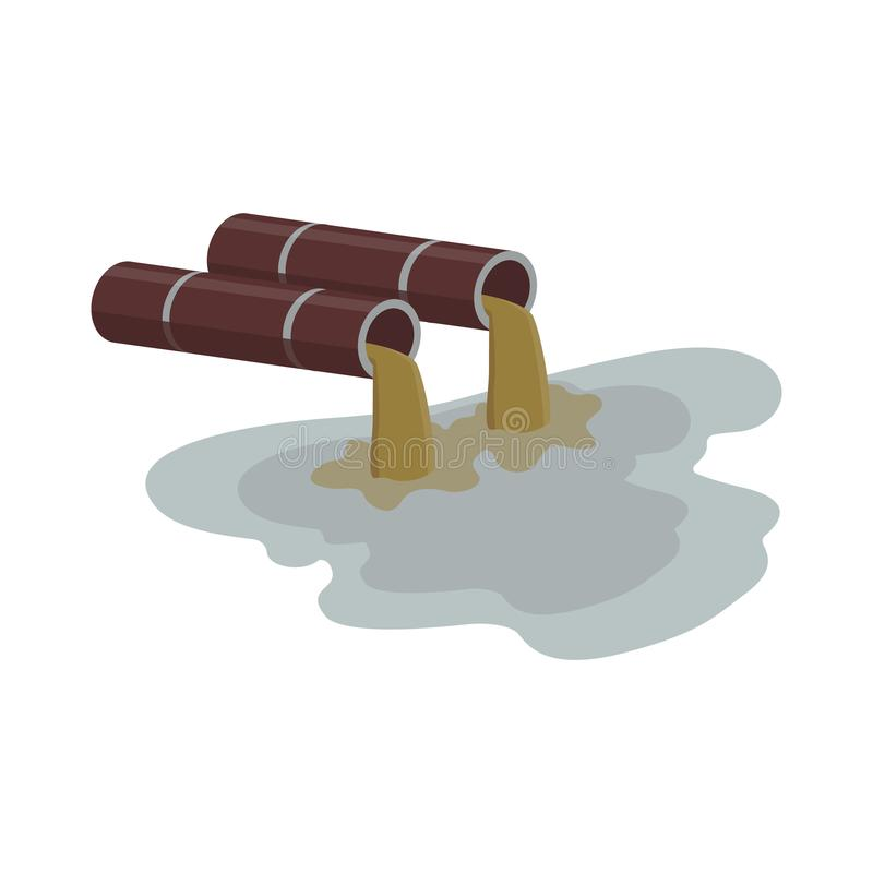 Industrial water pollution - factory pipe flowing brown dirty liquid. vector illustration