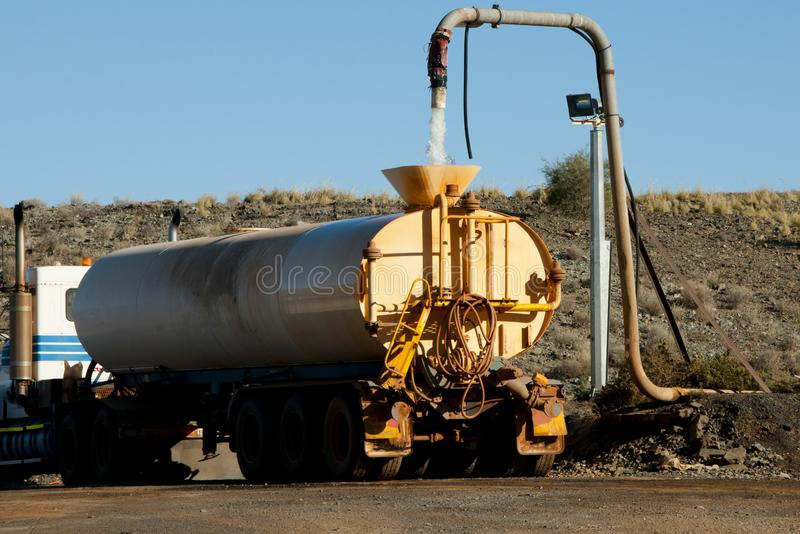 Industrial Water Truck. On Dirt Road stock images