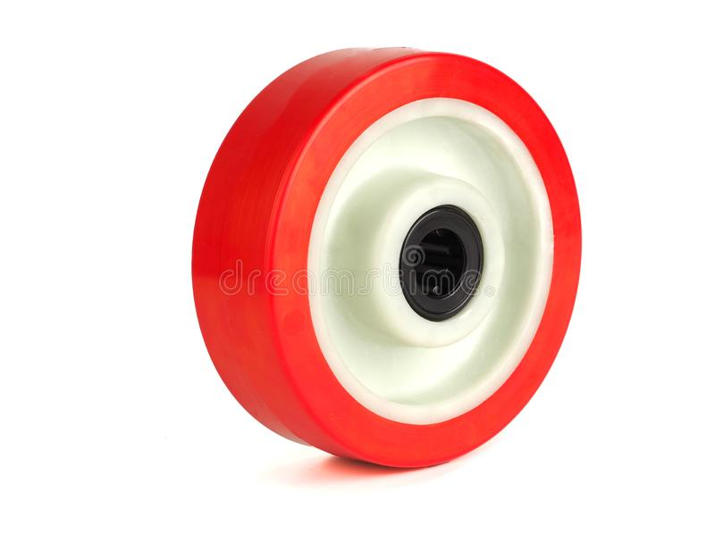 An industrial wheel made of polyamide. And polyurethane isolated on a white background stock photography