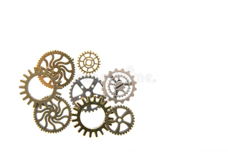 Industrial wheels. In copper and silver isolated over white background royalty free stock images