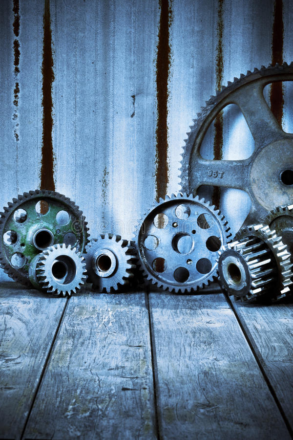 Industrial Cogs Wood Iron Background stock photography