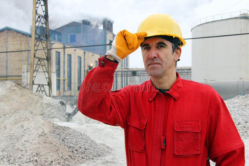 Industrial Worker. In a Factory, outdoors stock photography