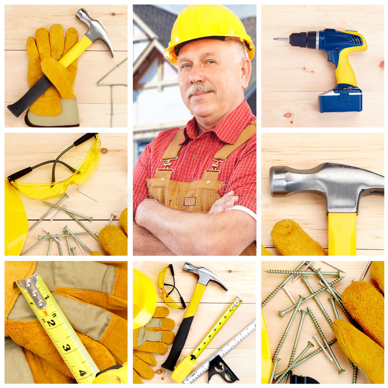 Industrial worker. Handsome smiling industrial worker contractor. Construction royalty free stock photos